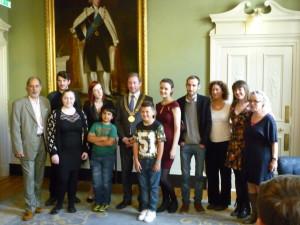 "Short Film ""Me Buddy, Muhammad"" cast and director with Lord Mayor of Dublin, Cllr Oisin Quinn"